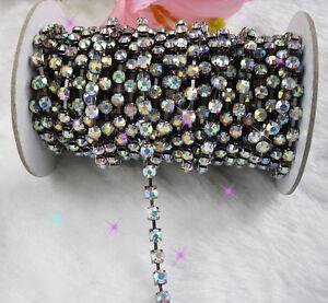 Clear AB crystal glass rhinestone close gun black chain trims Applique 2-10yards