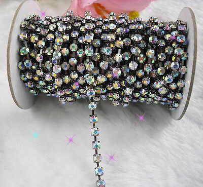 Clear AB crystal glass rhinestone close gun black chain trims Applique 2-10yards