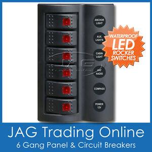 6 GANG DELUXE LED ROCKER SWITCH PANEL & CIRCUIT BREAKERS -BOAT/MARINE/WATERPROOF