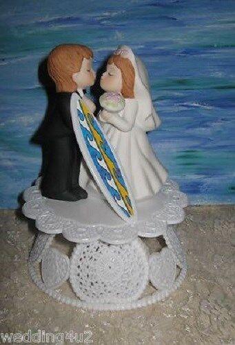 Wedding Reception Party Cake Topper Surfboard Beach Ocean Waves Surfer Hang 10