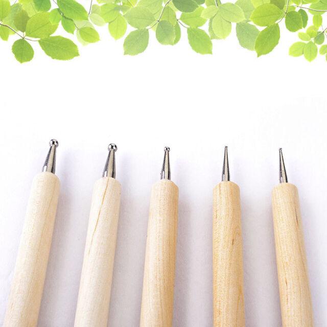 5pcsset 2 Way Wooden Dotting Pen Nail Art Dot Tool Set Manicure