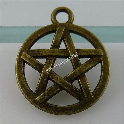 12349 30PCS Supernature Round Shield Witch Star Witchcraft Pentagram Pendant