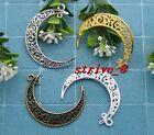 5/20/100pcs Tibet Silver Beautiful Moon Jewelry Finding Charm pendant 41x30mm