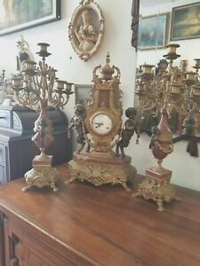 Franz-Hermle-039-Imperial-Bronze-Clock-and-Candelabras