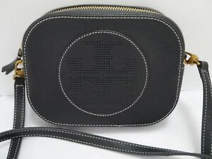 c358651ea744 NEW TORY BURCH black leather perforated logo small crossbody bag ...