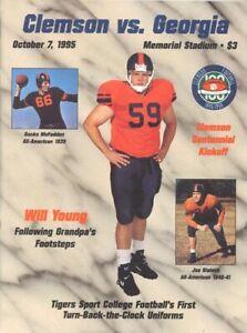 1995 Clemson Vs Georgia Football Program Will Young Throwback Uniform Cover Ebay