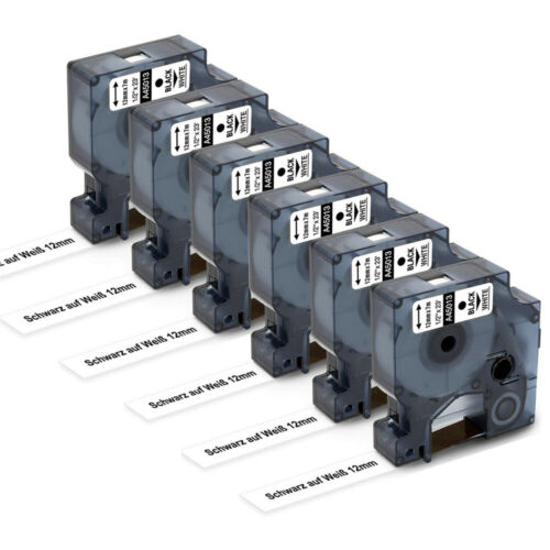 6x Kompatibel zu Schriftband Dymo D1 12mm 45013 Schwarz auf weiß LM450 400 350