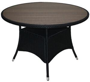 Gartentisch Rattan Rund.Details Zu Kmh Polyrattan Gartentisch Tisch Rund 110cm Holzimitat Grau Rattantisch Schwarz