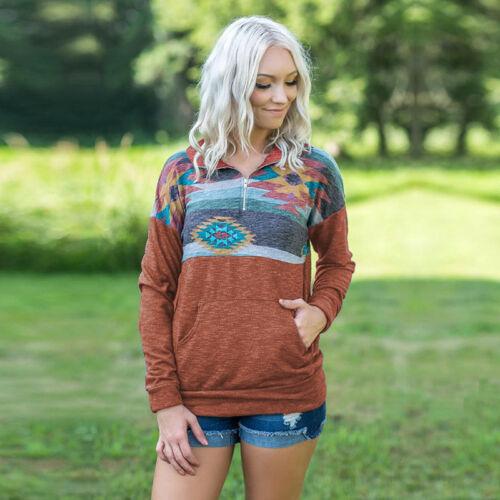 Women/'s Casual Fall Long Sleeve Hoodies Sweatshirt Zip Neck Tops Jumper Pullover