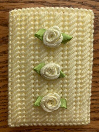 Handmade Needlepoint Plastic Canvas Gift Card Holder Yellow Roses