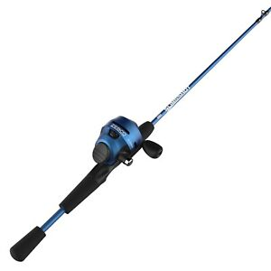 Zebco Slingshot Spincast Reel and Fishing Rod Combo 5-Foot 6-in 2-Piece Rod Blue