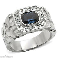 Montana Blue Stones & Crystal Silver Stainless Steel Mens Ring
