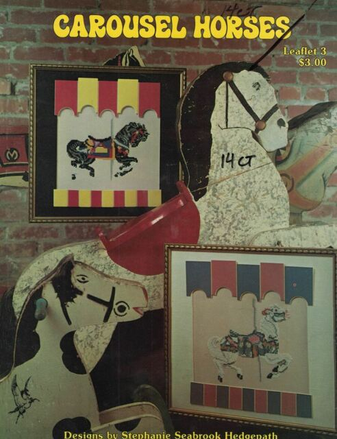 Pegasus CAROUSEL HORSES Leaflet 3 for Counted Cross Stitch 1981 2 Designs OOP