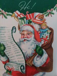 UNUSED-Mid-Century-SANTA-Toys-DOLL-Double-Open-Vtg-CHRISTMAS-GREETING-CARD-NOS