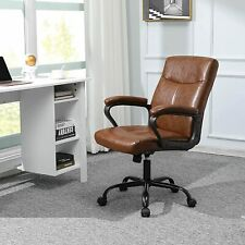 Brown Pu Leather Mid Back Office Chair Executive Task Ergonomic Computer Desk