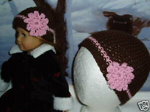 Matching-Child-and-Doll-Brown-Pink-Hats-18-inch-Doll-Clothes-Fits-American-Girl