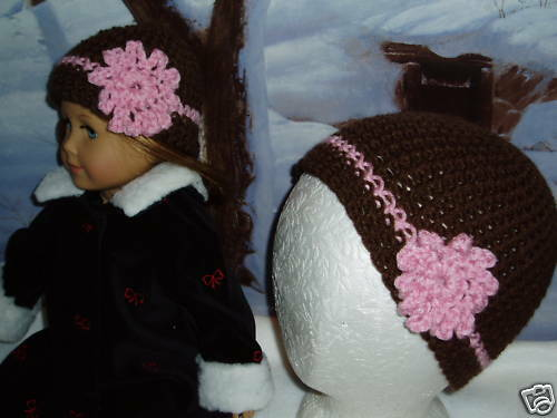Matching Child and Doll Brown Pink Hats 18 inch Doll Clothes Fits American Girl