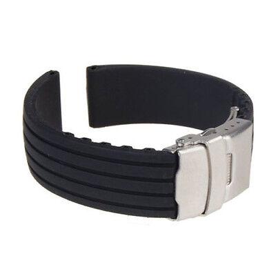Aufrichtig Silikon-ersatz-uhrenarmband- Wasserfest M. Mit Estklappschl. - 22 Mm - Neuwertig Einfach Zu Schmieren