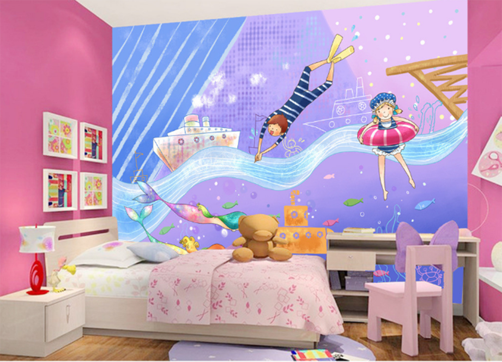 3D Cartoon Waves 737 Wallpaper Mural Paper Wall Print Wallpaper Murals UK Kyra