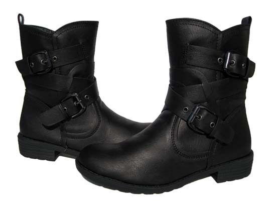New Women's Biker BOOTS Black Winter Snow Riding shoes Ladies size 6.5