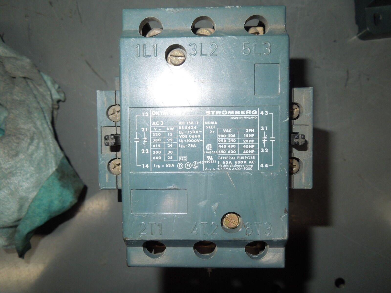 Stromberg OKYM 2 W 22 2W22 Size 2 Contactor 65 A 600 V 3 Phase 40 HP 240 V Coil