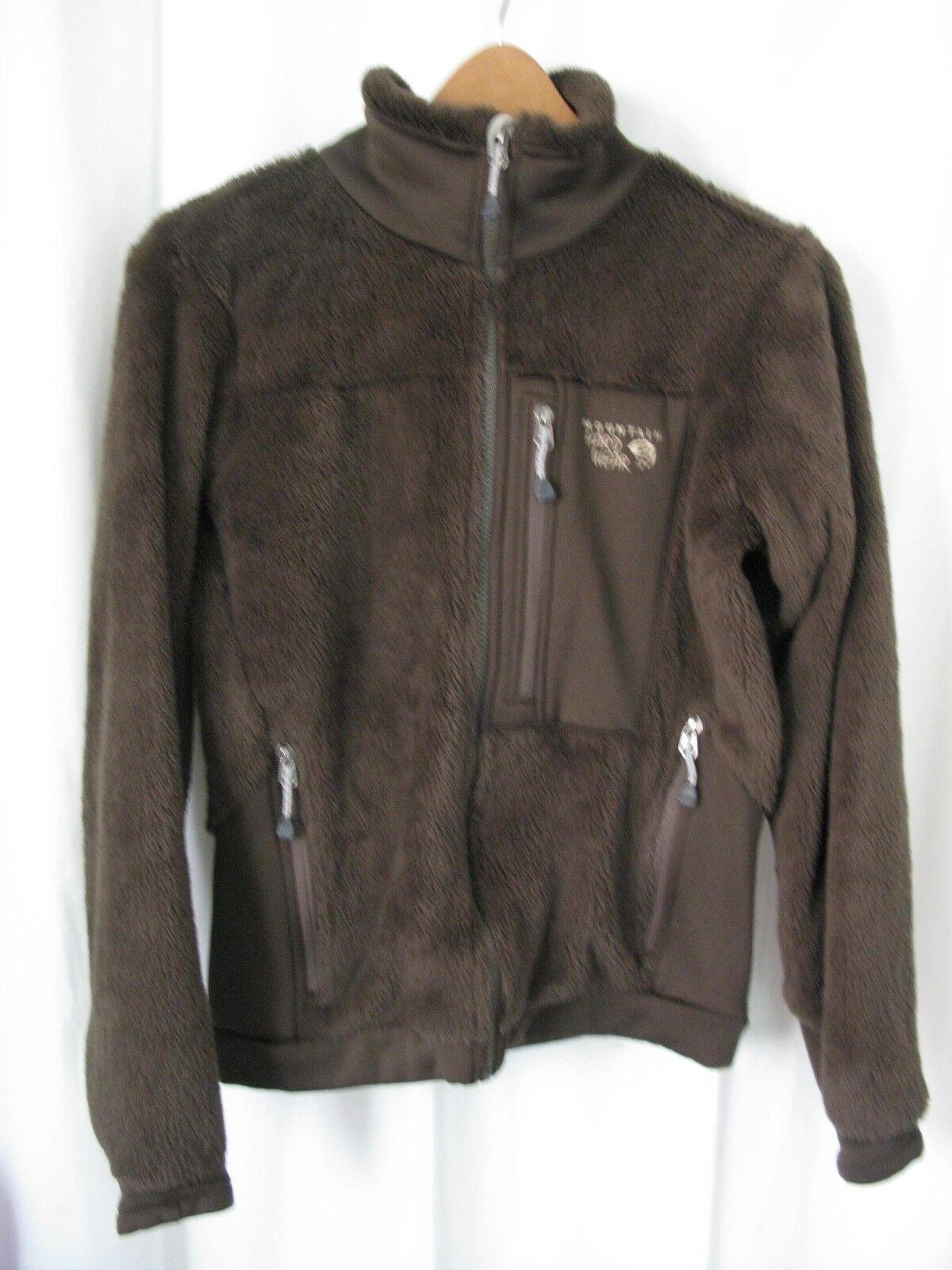 171281 Women's S MOUNTAIN HARWEAR Monkey Brown Polartec Fleece Zip Jacket EUC