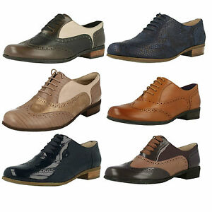 Ladies-Clarks-Hamble-Oak-Smart-Leather-Brogue-Style-Lace-Up-Shoes