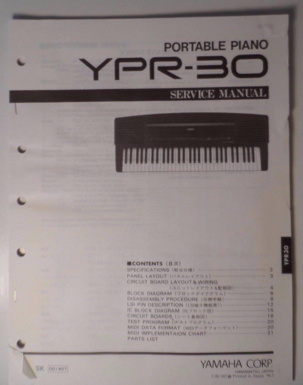 Original Yamaha Ypr-30 Portable Piano Service Manual