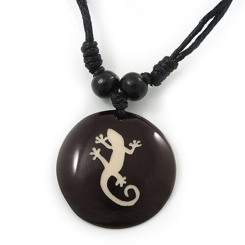 "Medallón De Resina Unisex Negro//Blanco /""Gecko Lagarto/"" colgante de cordón de algodón-adjusta"