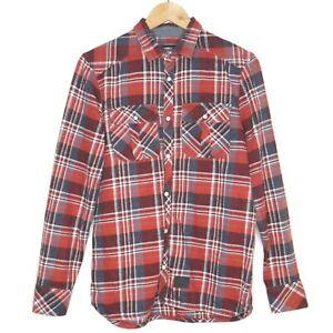 O-Neill-Pearl-Snap-Short-Size-Mens-Red-Black-Plaid-Long-Sleeve-Shirt-Size-Small