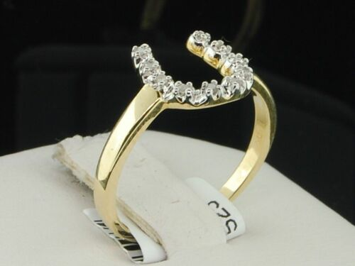 Ladies 10K Yellow Gold Horseshoe Diamond Engagement Fashion Cocktail Ring .05 Ct