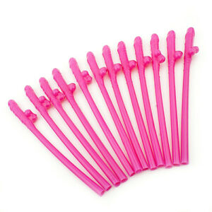 12-X-Pink-Jumbo-Hen-Party-Night-Straws-Willy-Accessories-Girls-Out-Do-Novelty-i