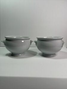 """2 Pottery Barn """"Great White"""" Soup Tureen Style Bowls, 5"""" Diameter"""