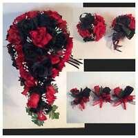 Red Black Silk Rose Wedding Bridal Bouquet Paqckage Cascade Corsages Flower Girl