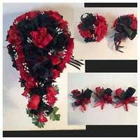 Red Black Silk Rose Wedding Bridal Bouquet Paqckage Cascade Corsages Flower Girl