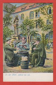 Kartenspieler-Biertrinker-GASTHAUS-Fass-Bier-Krug-Bart-Loewe-Wappen-Bart-Hut-Skat