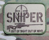 SNIPER OUT OF SIGHT MULTICAM USA ARMY US MILITARY TACTICAL HOOK MORALE PATCH