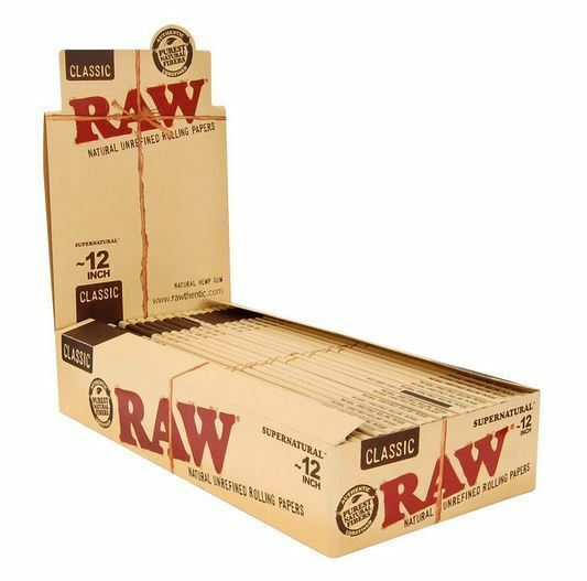 """RAW 12"""" Rolling Papers Classic Supernatural Unrefined 20 Packs Full Box"""