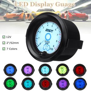 Universal-Car-2-039-039-52mm-7Color-Oil-Press-Pressure-Gauge-Digital-LED-Light-Display