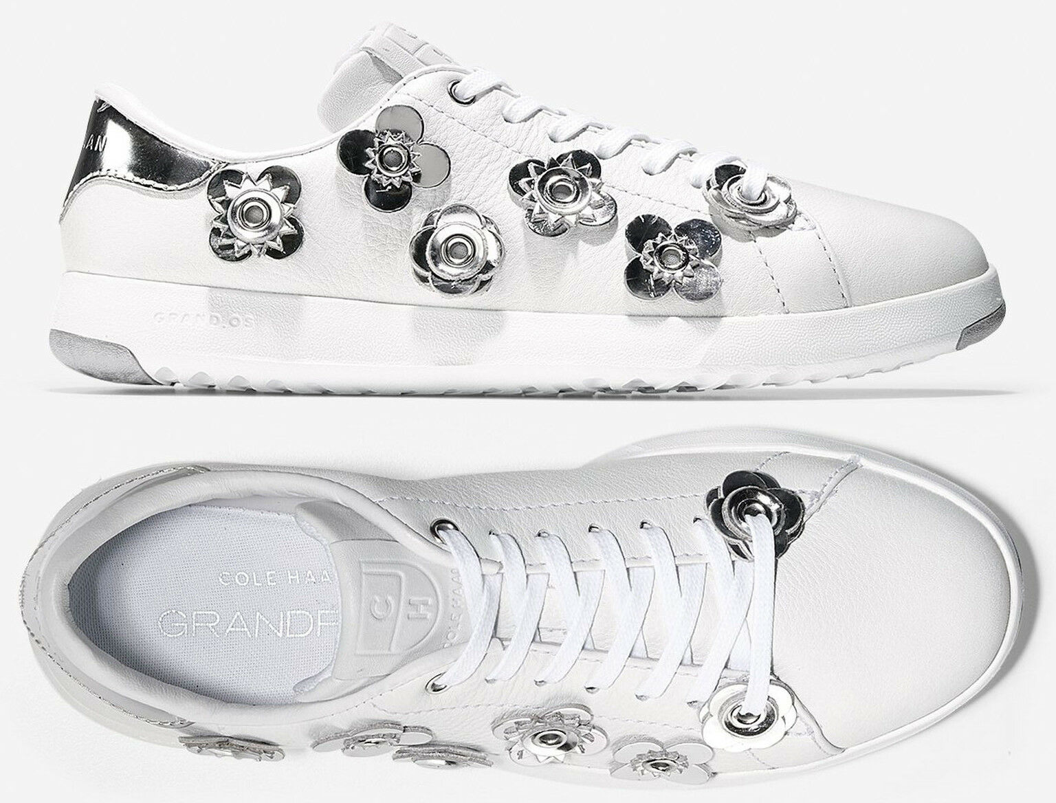 Cole Haan Grand Crosscourt Women White Leather Sneakers Shoes NEW
