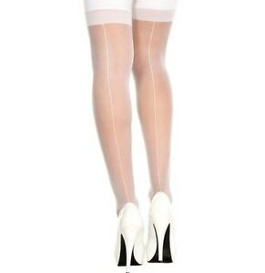 55397a6f351 Red Black White Nude Sheer Seamed Stockings Leg Avenue 1000 Vintage ...
