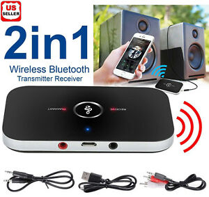 Bluetooth-V4-Transmitter-amp-Receiver-Wireless-A2DP-Audio-3-5mm-Aux-Adapter-Hub-A6