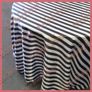 "Tablecloth 90/"" Round Polka Dot Charmeuse 1 inch Circle White Black"