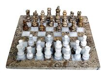 RADICAL Handmade Fossil Coral and White Full Original Marble Chess Game Set