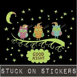Details About Cute Owls On Branch Glow In The Dark Kids Wall Stickers Luminous Removable Decal