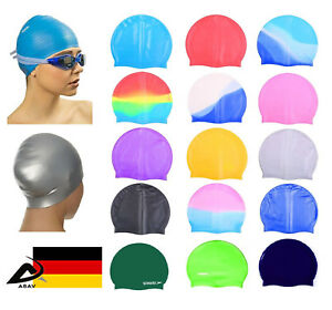 Silikon-Schwimmkappe-Badekappe-Bademutze-Badehaube-Swim-Cap-Hat-Schwimm-Hut