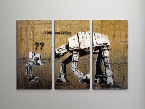 """Banksy I am Your Father Stretched Canvas Triptych Print 48/""""x30/"""" BONUS DECAL!"""