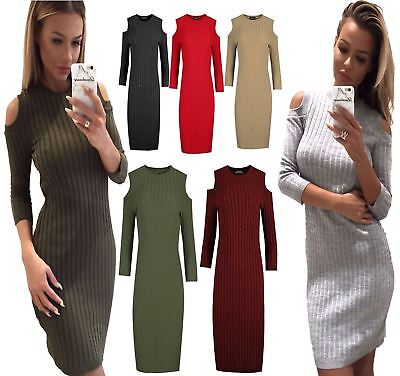 Ladies Ribbed Cut Out Shoulder Jumper Womens Plain Long Sleeve Bodycon Dress SchöN Und Charmant