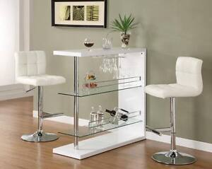 Image Is Loading 3 Piece Bar Table Set In Gloss White