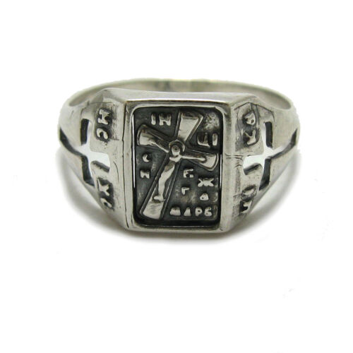 Genuine sterling silver ring hallmarked solid 925 Cross Save and preserve